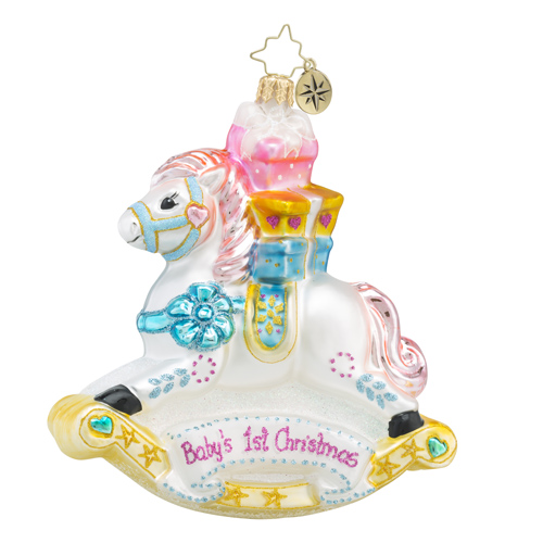 RADKO 1018421 ROCKIN' NEWBORN - BABY'S FIRST CHRISTMAS ORNAMENT - NEW 2016 (16 - 11)