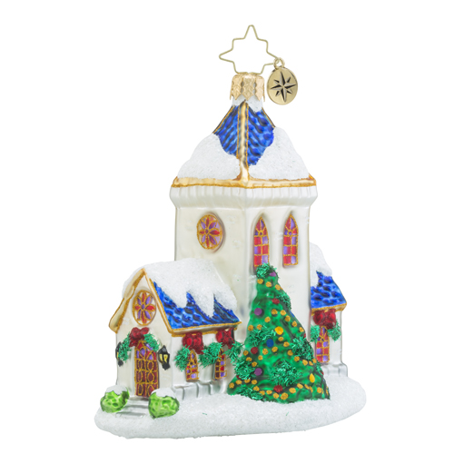RADKO 1018422 BLESSED TIDINGS - SNOW COVERED CHURCH ORNAMENT - NEW 2016 (16 - 11)