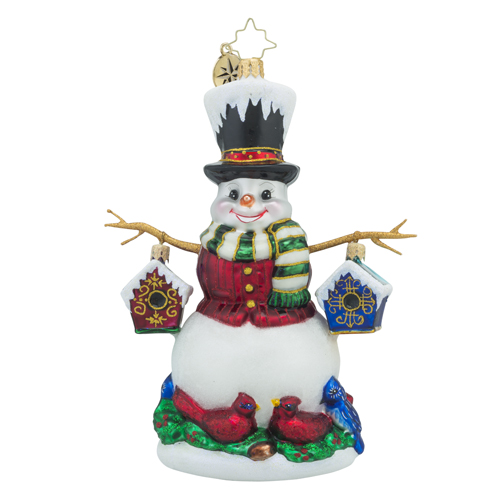RADKO 1018434 CHIRP-N-CHILLY - SNOWMAN WITH STICK ARMS HOLDING BIRD HOUSES ORNAMENT - NEW 2016 (16 - 12)