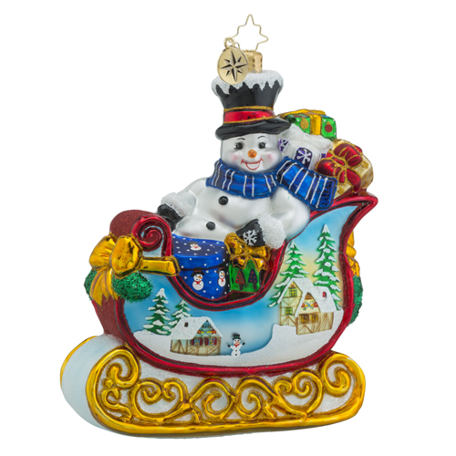 RADKO 1018436 SNOWY GIFT SLEIGH RIDE - SNOWMAN WITH GIFTS IN SLEIGH ORNAMENT - NEW 2016 (16 - 12)