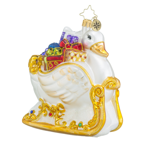 RADKO 1018437 GIFTED SWAN - GOLD SWAN SLEIGH WITH GIFTS - NEW 2016 (16 - 12)