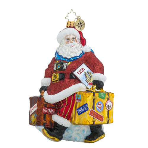 RADKO 1018439 PACKED FOR THE HOLIDAYS - TRAVELING SANTA WITH SUIT CASES ORNAMENT - NEW 2016 (16 - 12)