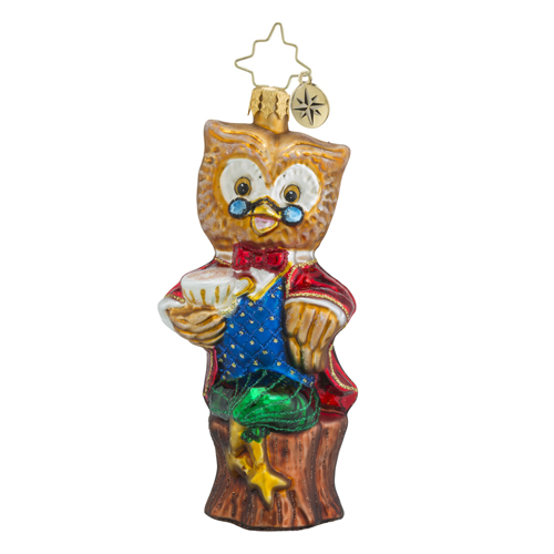 RADKO 1018447 WINTER WISDOM - OWL WITH GLASSES AND CUP OF COFFEE ORNAMENT - NEW 2016 (16 - 12)