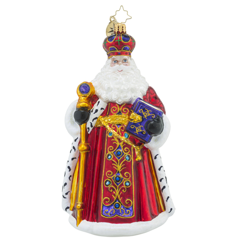 RADKO 1018462 WESTMINSTER SANTA - ELEGANT JEWELED SANTA WITH STAFF ORNAMENT - NEW 2016 (16 - 13)