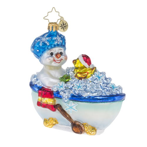 RADKO 1018465 SQUEAKY CLEAN - SNOWMAN IN BATH TUB WITH RUBBER DUCKIE ORNAMENT - NEW 2016 (16 - 13)