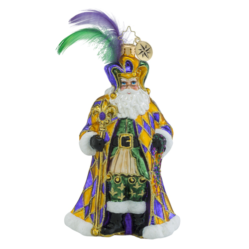 RADKO 1018478 FLOUR DE LIS NICK - MARDI GRAS SANTA WITH FEATHERS ORNAMENT - NEW 2016 (16 - 13)