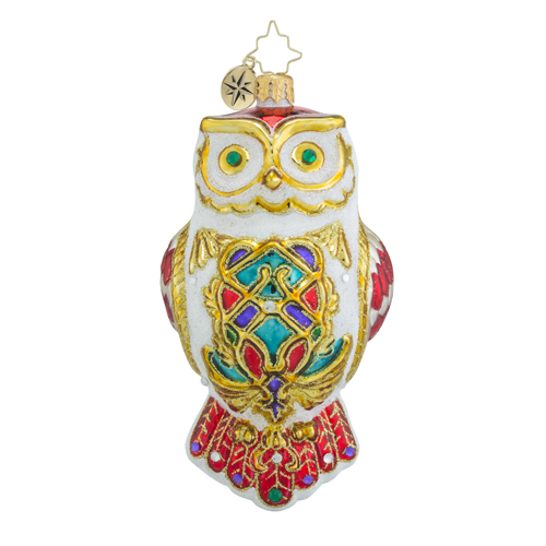 RADKO 1018480 OWL FLY AWAY - JEWELED WHITE OWL ORNAMENT - NEW 2016 (16 - 13)
