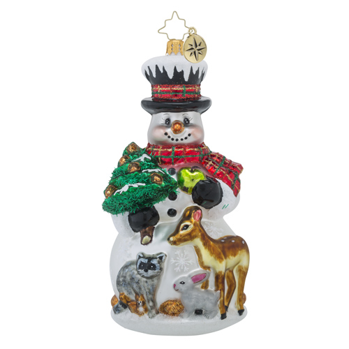 RADKO 1018481 FEAST FOR FRIENDS - SNOWMAN WITH DEER, RACCOON AND RABBIT ORNAMENT - NEW 2016 (16 - 13)
