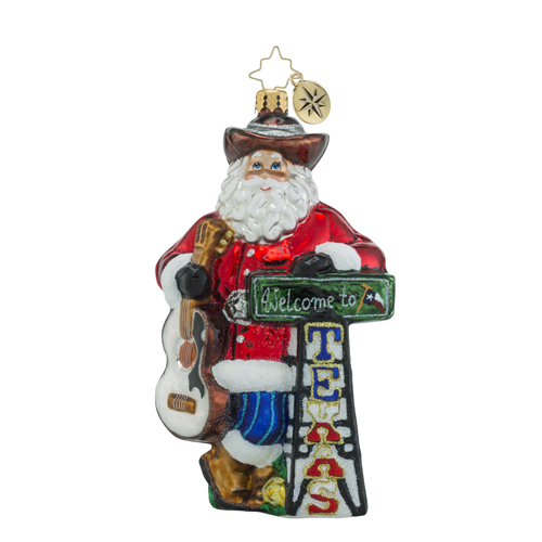 RADKO 1018483 HOWDY YA'LL - WELCOME TO TEXAS - COWBOY SANTA WITH GUITAR ORNAMENT - NEW 2016 (16 - 13)