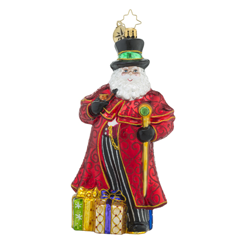 RADKO 1018484 GRANDIOSE GENT - JEWELED SANTA WITH TOP HAT, PIPE AND STAFF ORNAMENT - NEW 2016 (16 - 13)