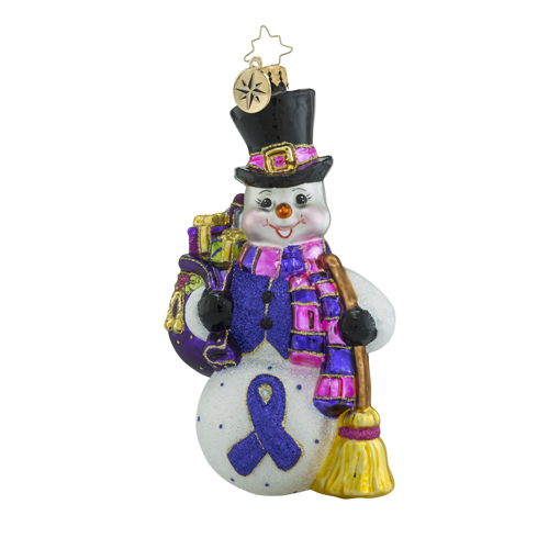 RADKO 1018485 SNOW SWEPT MEMORIES - ALZHEIMER'S AWARENESS - SNOWMAN WITH BAG OF GIFTS AND BROOM ORNAMENT - NEW 2016 (16-1)