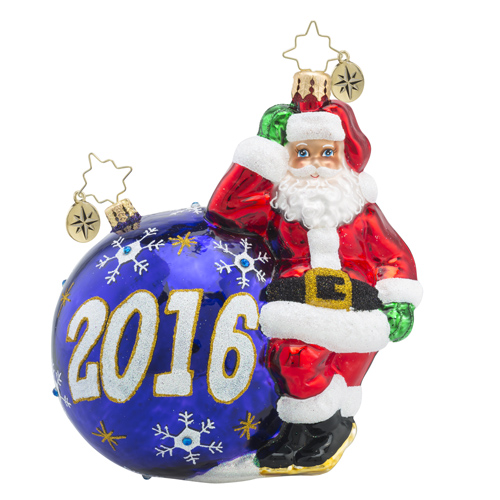 RADKO 1018486 HAVING A BALL 2016 - DATED 2016 - SANTA WITH PURPLE ORNAMENT ORNAMENT - NEW 2016 (16-2)