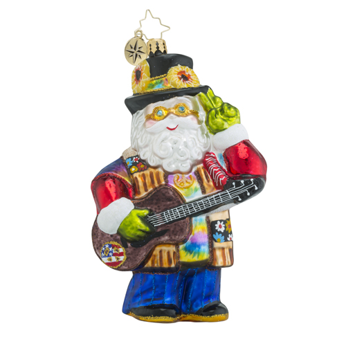 RADKO 1018487 A CLAUS FOR PEACE - HIPPY SANTA WITH GUITAR ORNAMENT - NEW 2016 (16 - 13)