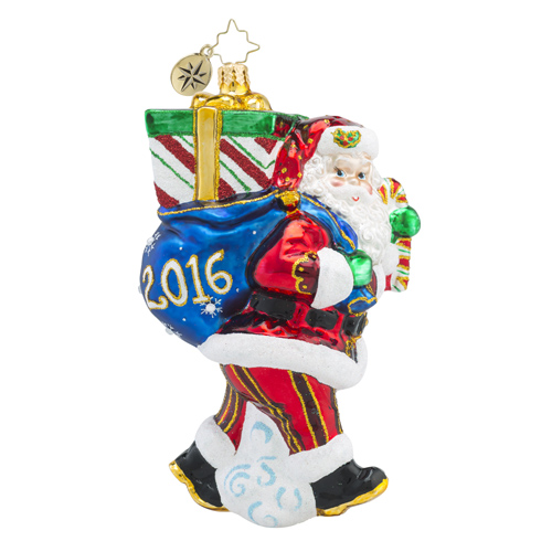 RADKO 1018488 PERFECT TIMING NICK 2016 - DATED 2016 - SANTA WITH BAG OF GIFTS ORNAMENT - NEW 2016 (16-2)