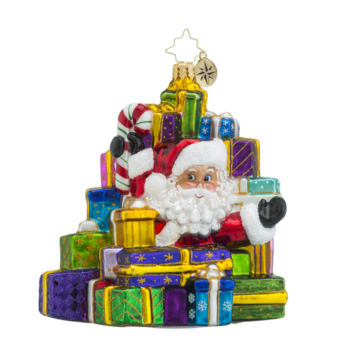 RADKO 1018491 LOTS TO DELIVER - SANTA SURROUNDED BY GIFTS AND PRESENTS ORNAMENT - NEW 2016 (16 - 13)