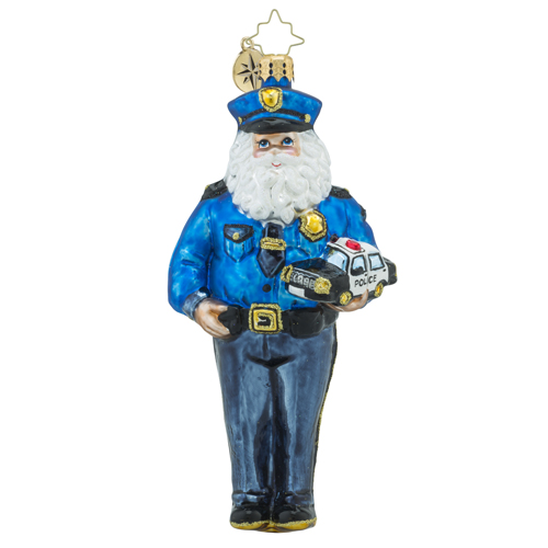 RADKO 1018492 COURAGEOUS NICK - LAW ENFORCEMENT CHARITY - POLICEMAN SANTA ORNAMENT - NEW 2016 (16-1)
