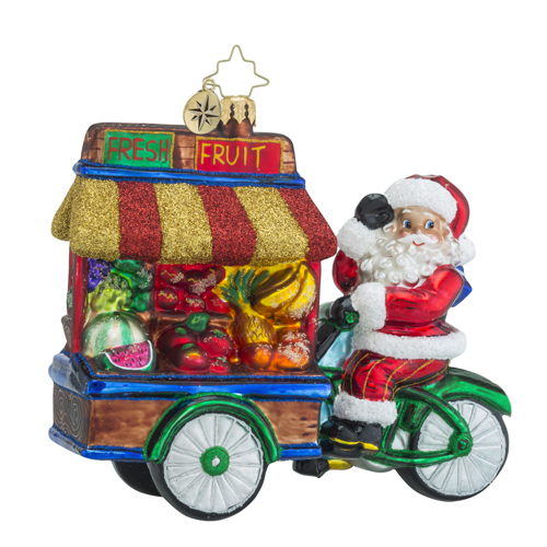 RADKO 1018496 HEALTHY HAUL - SANTA DRIVING A CART FULL OF FRUIT ORNAMENT - NEW 2016 (16 - 13)