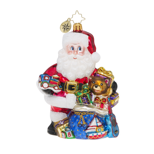 RADKO 1018500 TREASURE FOR TOTS - SANTA WITH GIFTS AND TOYS ORNAMENT - NEW 2016 (16 - 14)