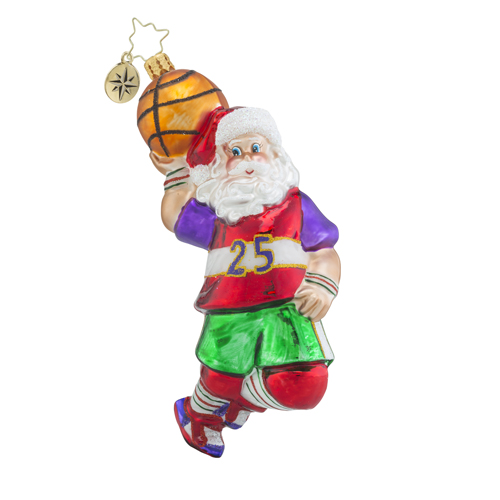 RADKO 1018503 HOOP TROTTER - SANTA PLAYING BASKETBALL ORNAMENT - NEW 2016 (16 - 14)