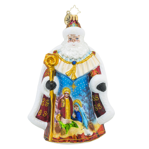 RADKO 1018528 OH HOLY NIGHT NICK - RELIGIOUS - SANTA WITH PAINTED MANGER SCENE ORNAMENT - NEW 2016 (16 - 14)