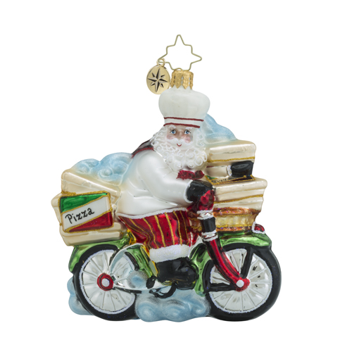 RADKO 1018531 PEDDLIN' PIZZA - PIZZA DELIVERY SANTA ON BIKE ORNAMENT - NEW 2016 (16 - 14)