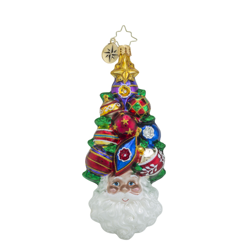 RADKO 1018533 A CLUSTER AHEAD - SANTA WITH DECORATED TREE HAT ORNAMENT - NEW 2016 (16 - 14)