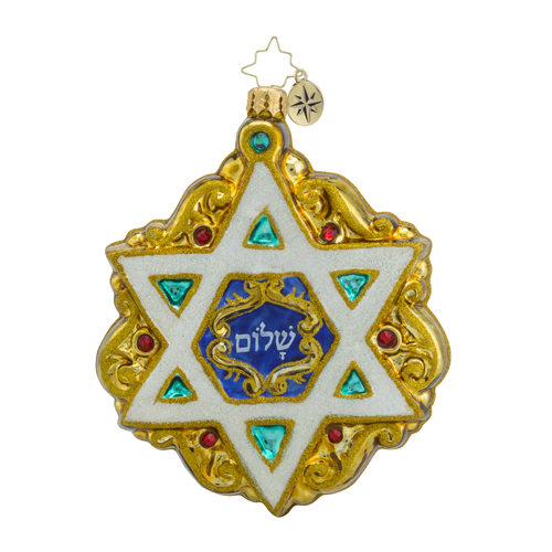 RADKO 1018537 SHIELD OF DAVID - STAR OF DAVID - HANUKKAH ORNAMENT - NEW 2016 (16 - 15)
