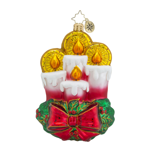 RADKO 1018544 ALL IS CALM, ALL IS BRIGHT - 4 CANDLES WITH HOLLY AND RED BOW ORNAMENT - NEW 2016 (16 - 15)