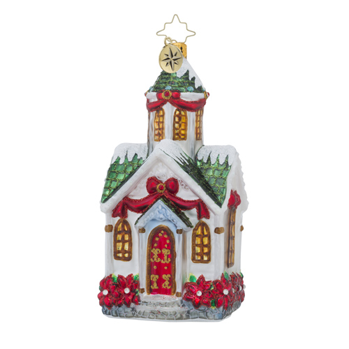 RADKO 1018545 BEAUTIFUL BETHEL - SNOW COVERED GREEN ROOF CHURCH ORNAMENT - NEW 2016 (16 - 15)