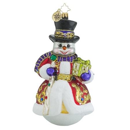 RADKO 1018555 SIR SCARLET SNOW - LIMITED EDITION - JEWELED SNOWMAN WITH STAFF ORNAMENT - NEW 2016 - IN STOCK - IMMEDIATE SHIP (16-2)