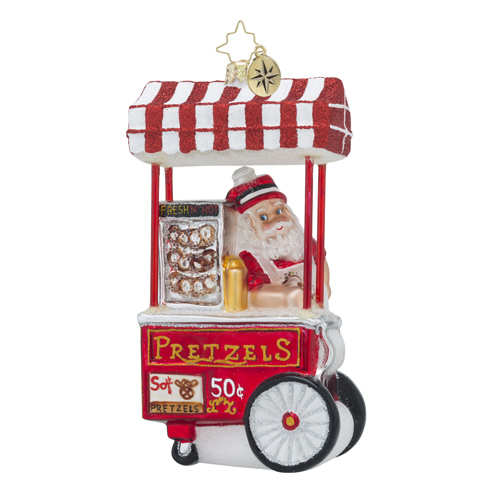 RADKO 1018575 SALTY SANTA - SANTA AND PRETZEL STAND ORNAMENT - NEW 2016 (16 - 15)