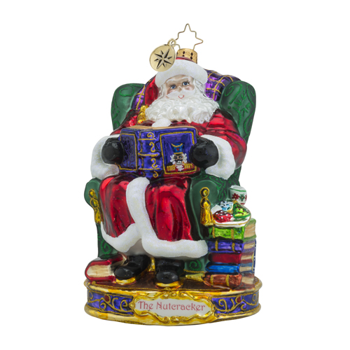 RADKO 1018578 OUR STORY BEGINS - THE NUTCRACKER SUITE SERIES - SANTA IN CHAIR READING BOOK ORNAMENT - NEW 2016 (16-1)