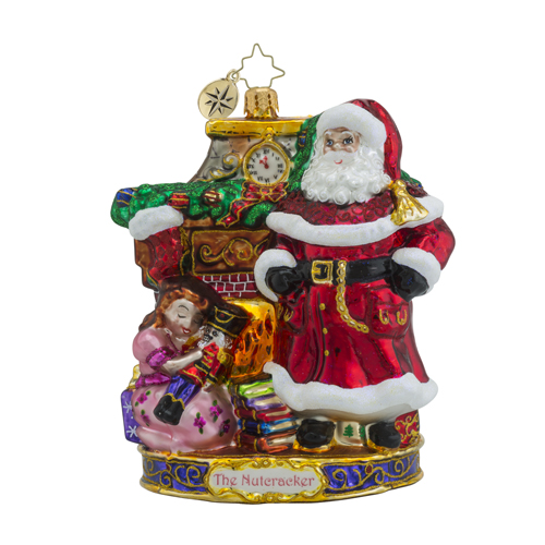 RADKO 1018581 MY BEAUTIFUL NUTCRACKER - THE NUTCRACKER SUITE SERIES - SANTA, CLARA AND THE NUTCRACKER ORNAMENT - NEW 2016 (16-1)