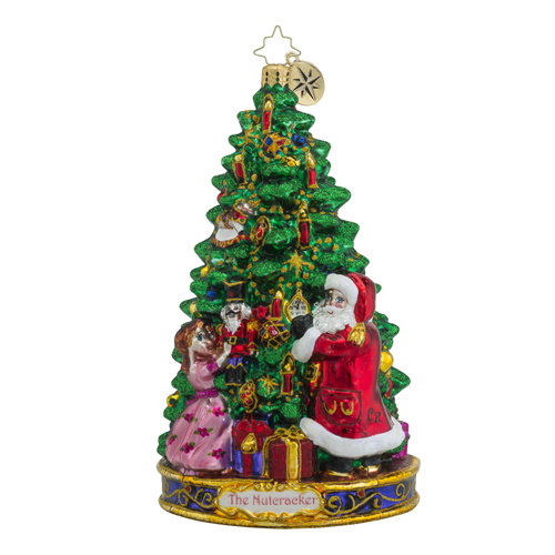 RADKO 1018582 THE MAGIC STARTS - THE NUTCRACKER SUITE SERIES - SANTA, CLARA AND THE NUTCRACKER IN FRONT OF THE TREE ORNAMENT - NEW 2016 (16-1)