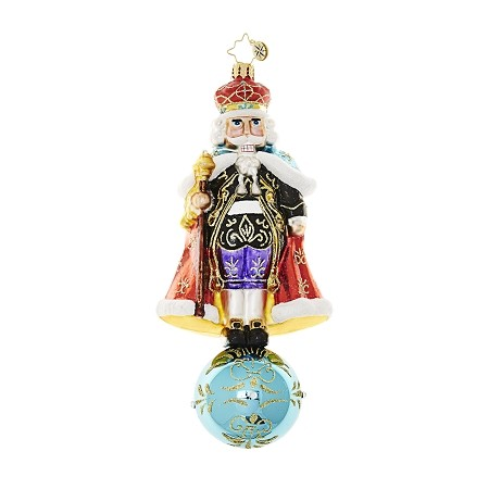 RADKO 1018612 MAJESTIC CRACKER - JEWELED NUTCRACKER ON BALL ORNAMENT - NEW 2017 (17-3)