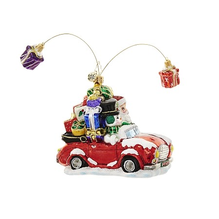 RADKO 1018622 GIFTS ARE POPPIN' - SANTA AND SNOWMAN IN RED CAR ORNAMENT - NEW 2017 (17-3)