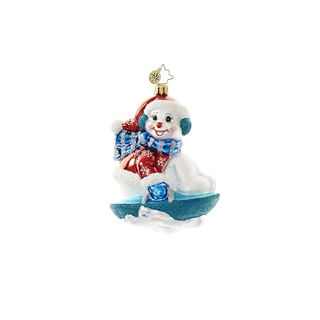 RADKO 1018626 SNOWY SAUCER - SLEDDING SNOWMAN ORNAMENT - NEW 2017 (17-3)