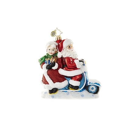 RADKO 1018627 SCOOTER FOR TWO - SANTA AND MRS  CLAUS ON SCOOTER ORNAMENT - NEW 2017 (17-3)