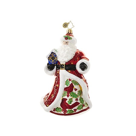 RADKO 1018629 CRIMSON CARDINAL NICHOLAS - SANTA WITH PAINTED CARDINALS AND BIRDHOUSE ORNAMENT - NEW 2017 (17-4)