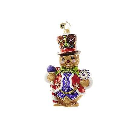 RADKO 1018636 RIGHT ON TIME GINGER - GINGERBREAD MAN WITH TOP HAT & CLOCK ORNAMENT - NEW 2017 (17-4)