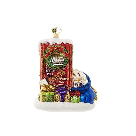 RADKO 1018637 LETTERS TO SANTA - MAIL BOX AND MAIL BAG WITH GIFTS ORNAMENT - NEW 2017 (17-4)