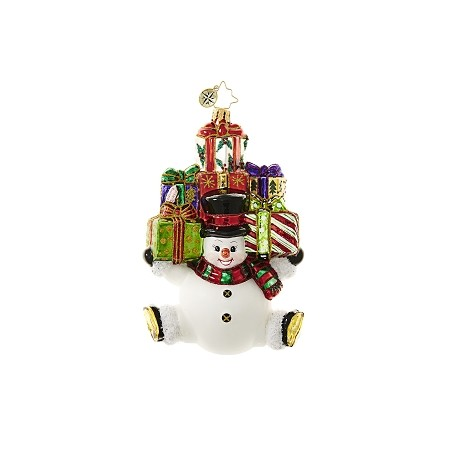 RADKO 1018643 SNOW STACKED GIFTS - SNOWMAN WITH ARMS FULL OF PRESENTS ORNAMENT - NEW 2017 (17-4)