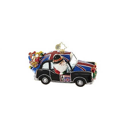RADKO 1018644 JOLLY GOOD RIDE - SANTA IN CAR WITH BRITISH FLAG ORNAMENT - NEW 2017 (17-4)