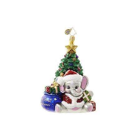 RADKO 1018648 A TRUNK-FUL FIRST - BABY'S FIRST CHRISTMAS - NOT DATED - ELEPHANT AND TREE ORNAMENT - NEW 2017 (17-4)