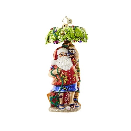 RADKO 1018650 CLAUS IN PARADISE - HAWAIIAN SANTA UNDER PALM TREE ORNAMENT - NEW 2017 (17-4)