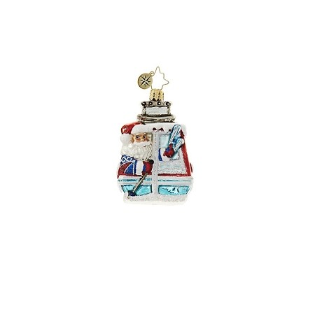 RADKO 1018652 SANTA ON THE SLOPES GEM - SKIING SANTA ON CABLE CAR ORNAMENT - NEW 2017 (25)