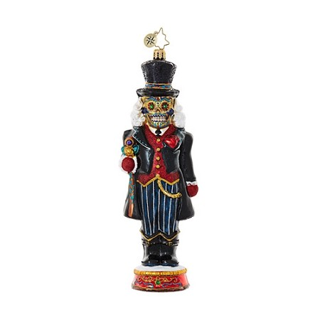 RADKO 1018682 DIA DE LOS CRACKER - HALLOWEEN - DAY OF THE DEAD - NUTCRACKER WITH TOP HAT ORNAMENT - NEW 2017 (H8)