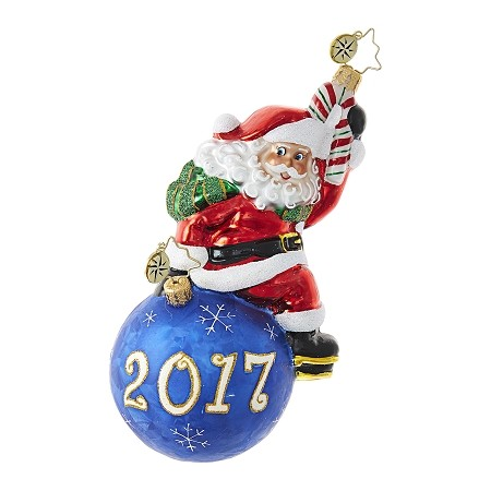 RADKO 1018701 HAVING A BALL! - DATED 2017 - SANTA SITTING ON BLUE BALL ORNAMENT - NEW 2017 (17-2)