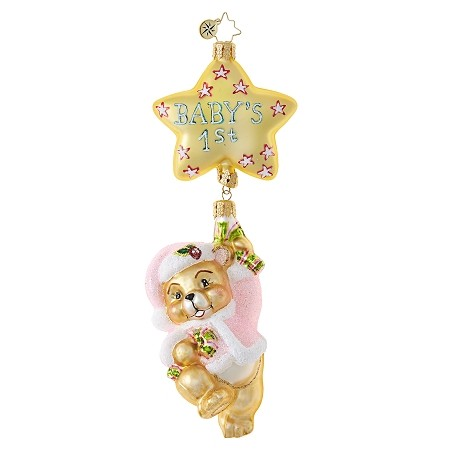 RADKO 1018702 FIRST THINGS FIRST - BABY'S 1ST - PINK - GIRL - NOT DATED - BEAR DANGLE FROM STAR ORNAMENT - NEW 2017 (17-7)