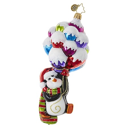 RADKO 1018705 UP UP AND AWAY, PENNY! - PENGUIN HOLDING SNOW COVERED BALLOONS ORNAMENT - NEW 2017 (17-7)